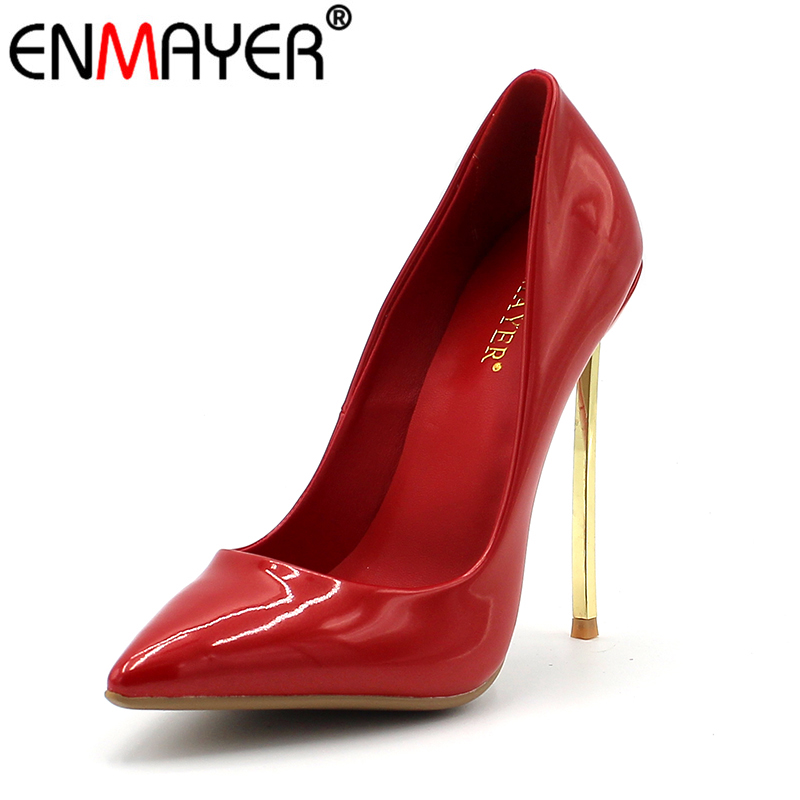 ENMAYER Super High Heels Pumps Sexy Red Stiletto Pointed Toe Slip On Shoes for Party Wedding Plus Size 34-43 Summer Shoes Women enmayer pointed toe sexy black lace party wedding shoes woman high heels shallow pumps plus size 35 46 thin heels slip on pumps