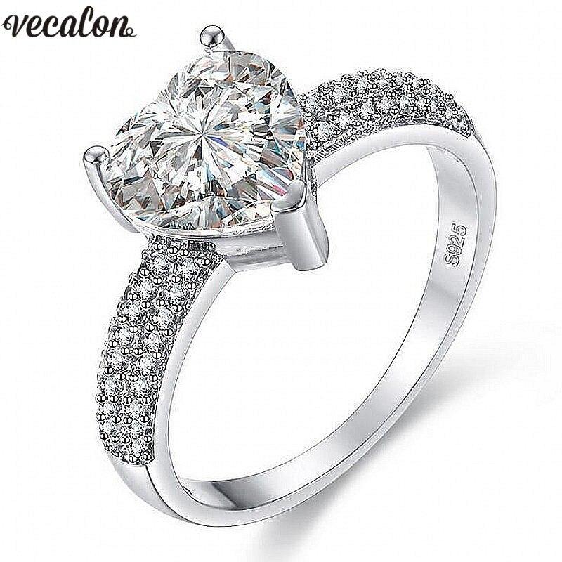 Vecalon 3 colores corazón forma anillo 5A Zircon Cz 925 plata esterlina lleno de compromiso banda de boda anillos para las mujeres nupcial joyería