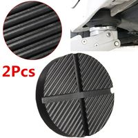 2 X Black Rubber Car Truck Cross Slotted Frame Rail Floor Jack Disk Pad Adapter Tool