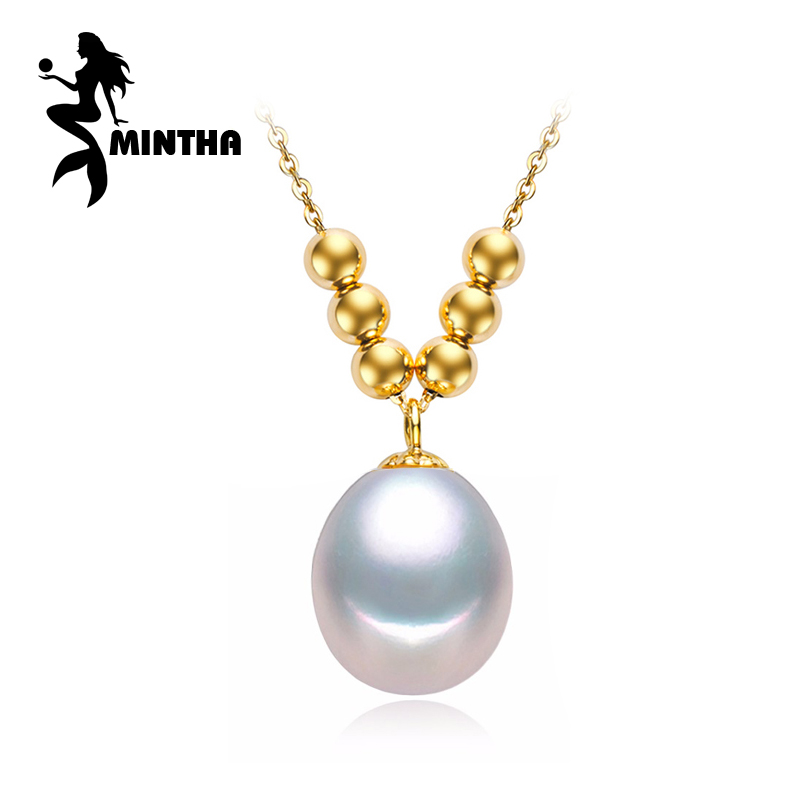 MINTHA 2017 New 9-10MM Pearl 18k Pendant Tear Drop Pearl Choker Pendant Necklace 18k Yellow Gold Chain Pendant Gift For Women faux pearl velvet water drop choker