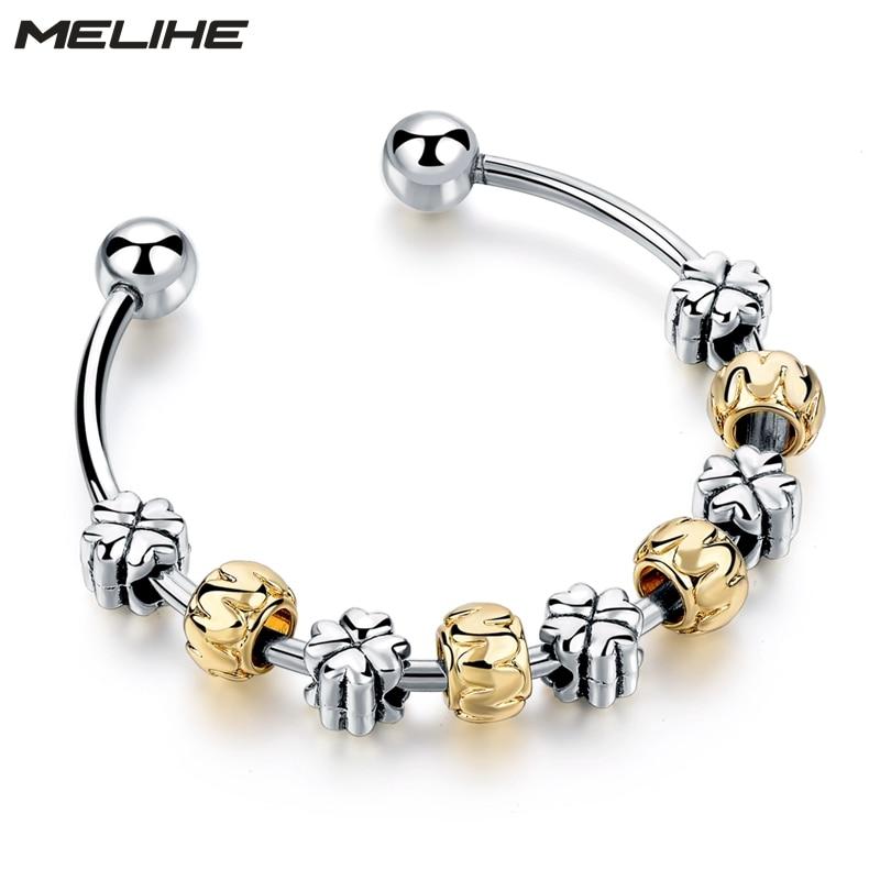 MELIHE Silver Flower Bracelets & Bangles For Women Silver Yellow Love Bangles Wedding DIY Jewelry SBR160171