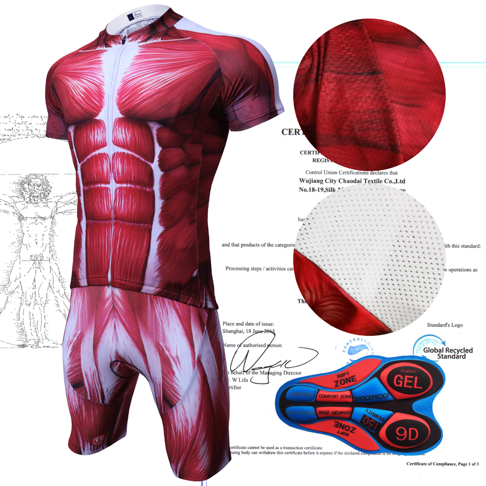 IRONANT Muscle Suit Cycling Jersey Sets Short Sleeve Summer Cycling Clothing  Maillot Bicycle Clothes V-neck Red Bike Shirt 0a2ad0a72