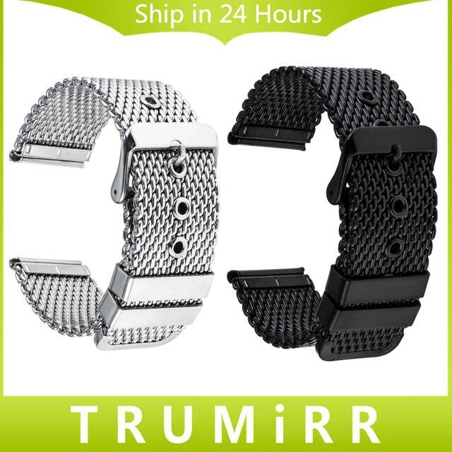 20mm 22mm 24mm Milanese Horlogeband Universele Rvs Band Polsband Vervanging Riem Armband Zwart Zilver + Tool
