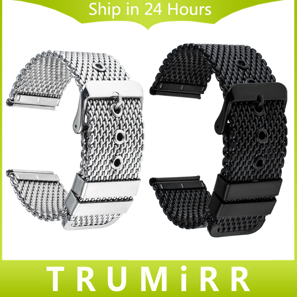 20mm 22mm 24mm Milanese Watchband Universal Stainless Steel Watch Band Wrist Strap Replacement Belt Bracelet Black Silver + Tool 24mm nylon watchband for suunto traverse watch band zulu strap fabric wrist belt bracelet black blue brown tool spring bars