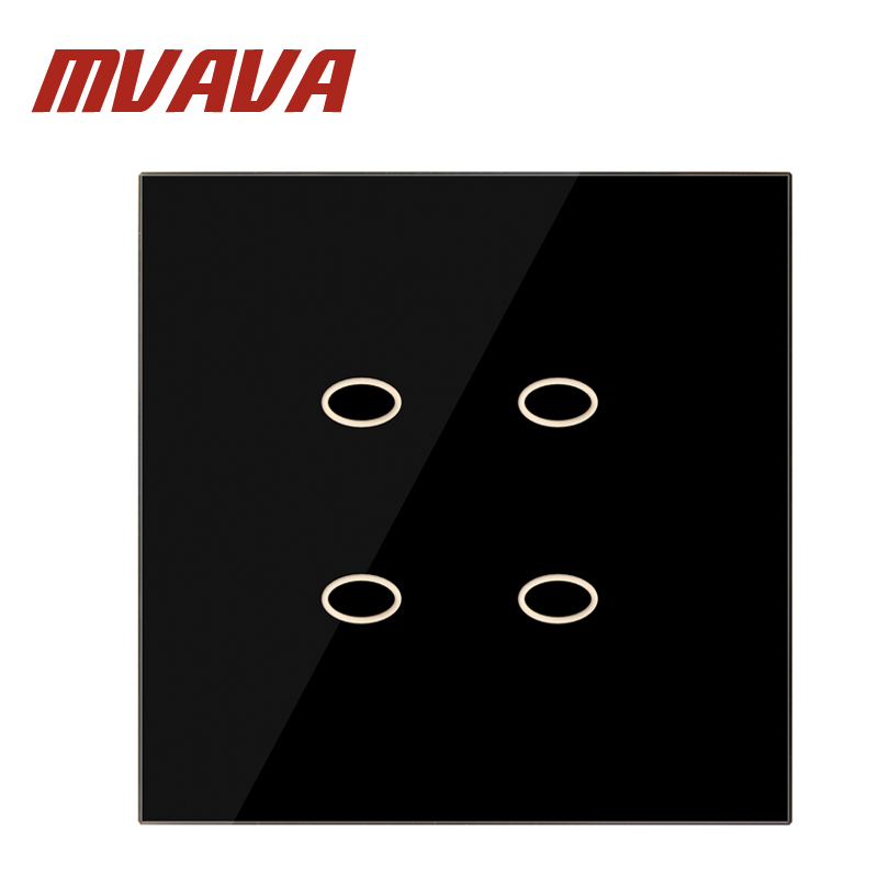 MVAVA Easy Life  4 Gang 1 way Black Touch Screen Luxury Tempered Glass Panel  Home Wall Light Switch 86*86mm Free Shipping smart home us au wall touch switch white crystal glass panel 1 gang 1 way power light wall touch switch used for led waterproof