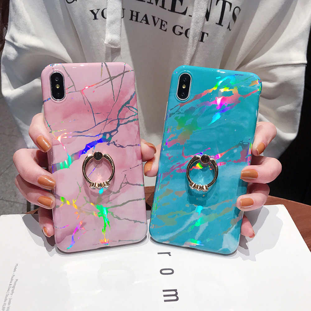 Heyytle Laser Marble Case For iPhone 7 8 Plus 6 6s Ring Holder Cases For iPhone X XS MAX XR Soft TPU Cover Colorful Stand Coque