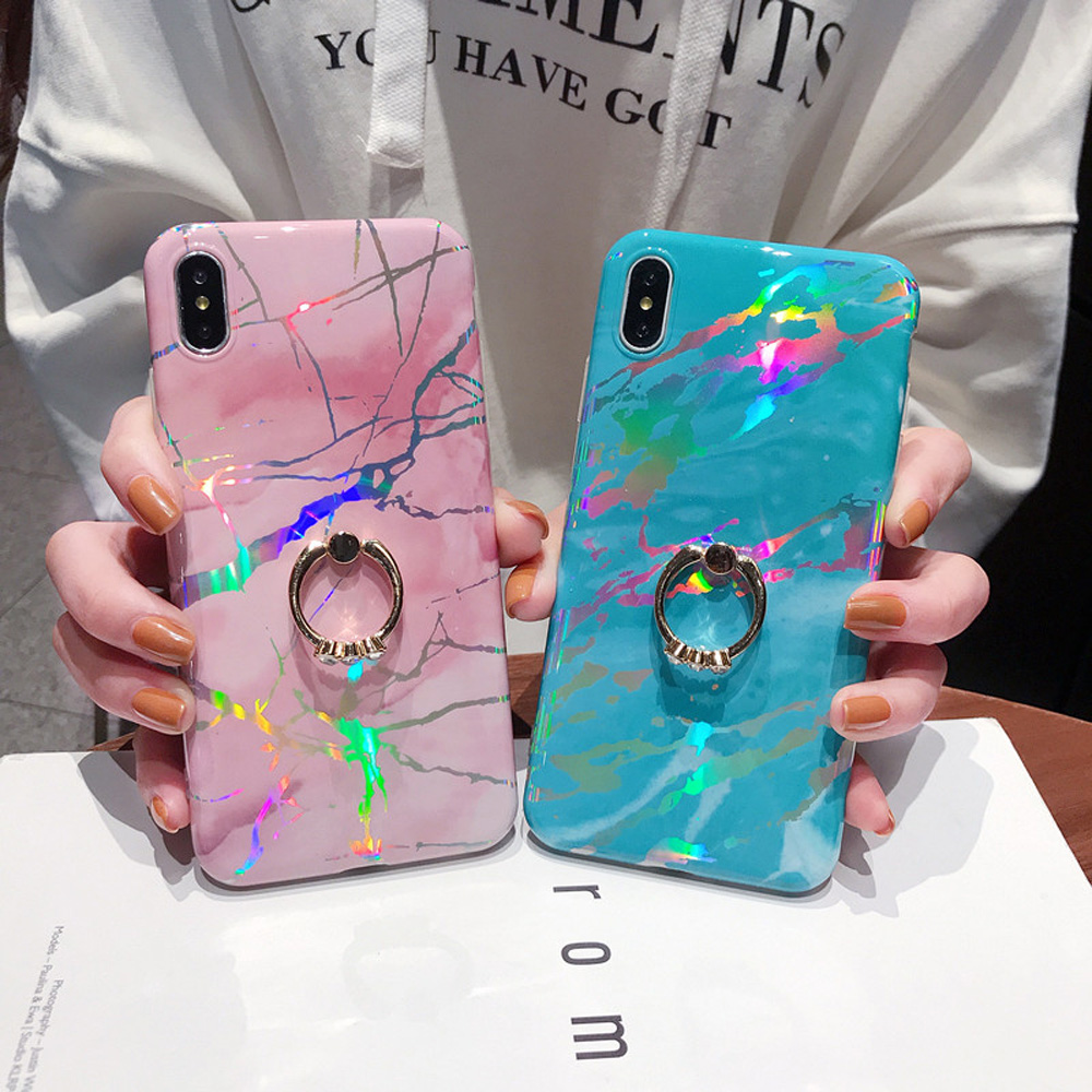 Heyytle Laser Marble Case For iPhone 7 8 Plus 6 6s Ring Holder Cases For iPhone X XS MAX XR Soft TPU Cover Colorful Stand Coque-in Fitted Cases from Cellphones & Telecommunications
