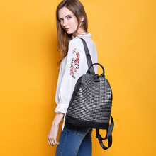 New Two-tone Women Leather Backpacks Brand Designer Shoulder Bag Outdoor Backpack Silver Cross Lines Pattern School Bag For Girl two tone spliced tote bag