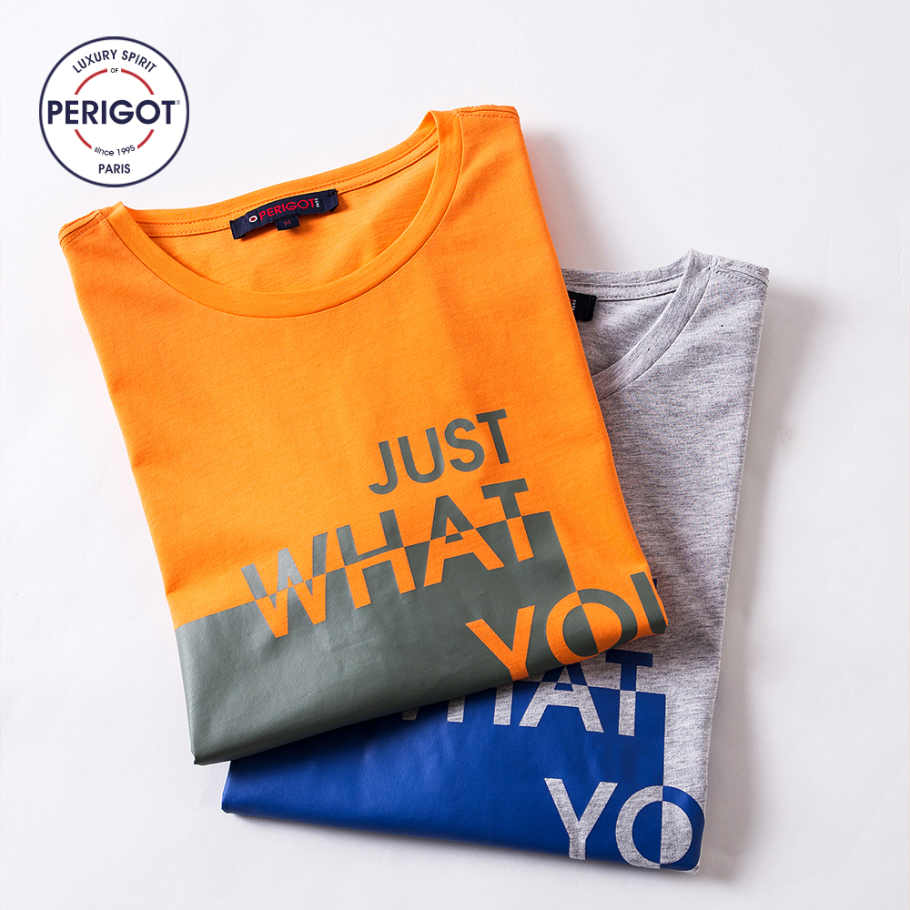 ed3ddfeb1ed PERIGOT PGM170702 2017 New Summer Men s Print Casual T shirt Male Loose  Brand LOGO Design 100% Cotton Tee Grey Orange S L-in T-Shirts from Men s  Clothing on ...