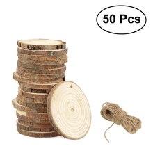 50 sztuk 5 6CM drewniane elementy dyski dla majsterkowiczów dekoracje ślubne z 10M sznurka jutowego