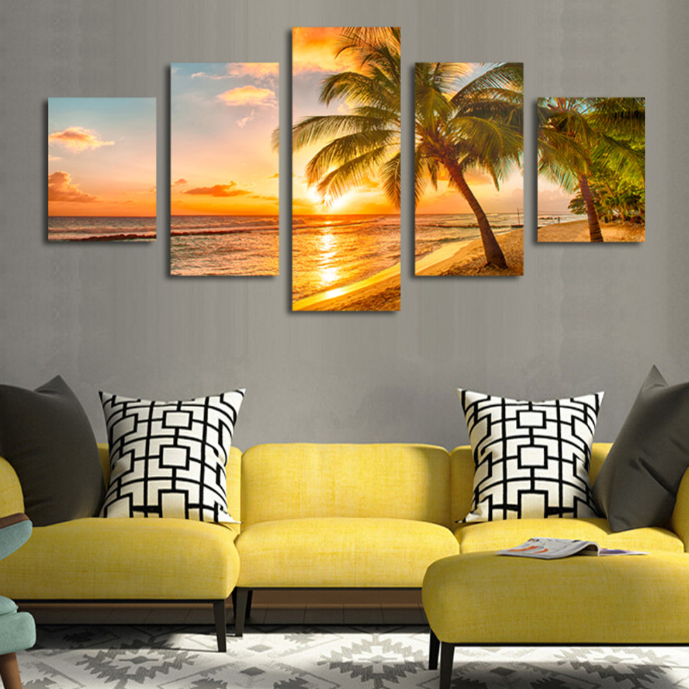 HD Seaview Coconut Tree 5 picture drawing wall art room decoration ...