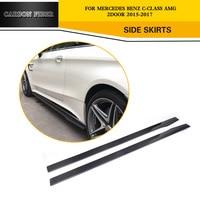 2PCS/SET Carbon Fiber Door Side Skirts Body Aprons Lip for Mercedes Benz C Class W205 C63 AMG Coupe 2015 2017 FRP Black