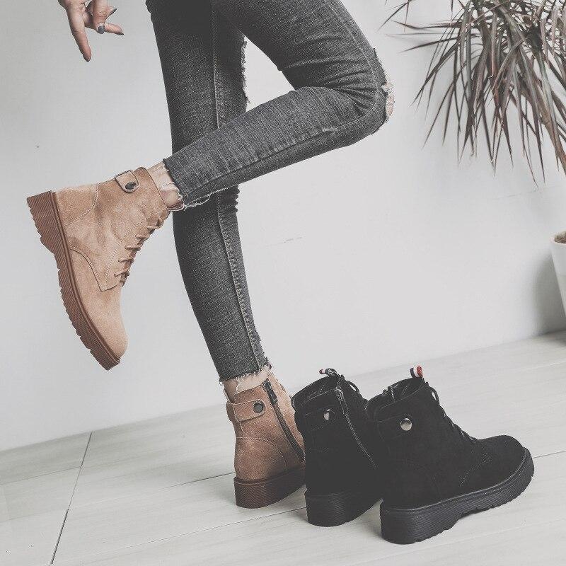 Hh Brown forme Jusqu'à Femmes hh Martin Cheville Chaussures Hiver Taille 2018 Dentelle Bottes Mode Black Chaud De 43 Cuir Neige 1 34 Plate La Femme Plus En Casual Plat 1 CwxrqCaSH