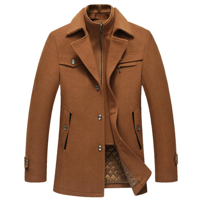 2018 autumn and winter mens business casual wool jacket warm jacket Slim coat Stand collar Solid color Overcoat