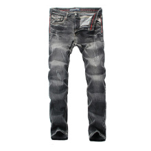 Fashion Vintage Men Jeans Black Gray Color Slim Fit Ripped Distressed Pants Streetwear Classical Hip Hop