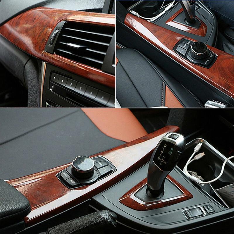 Купить с кэшбэком 30*100cm High Glossy Wood Grain Vinyl Sticker Decal Car Internal Self Adhesive DIY Film Car Accessories Maroon Car Stickers