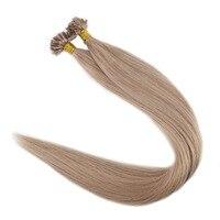 Полный блеск предварительно таможенного волос U Совет волос пепельный блондин Цвет #18 1 г/strand 50 г 100% remy Пряди человеческих волос для наращива...