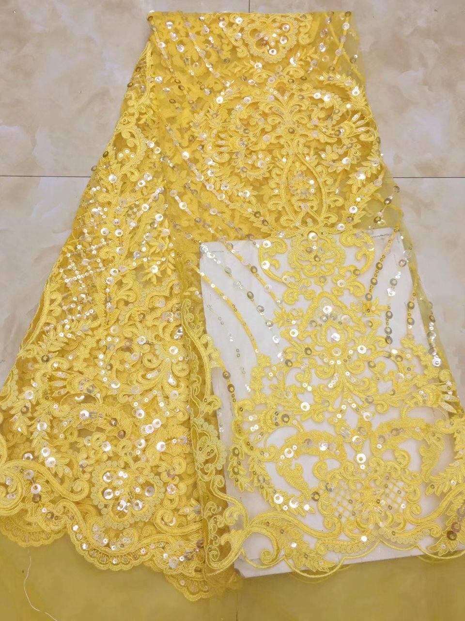 2018 Nigeriaanse netto materiaal witte Franse kant stof, bruid bruiloft Afrikaanse pailletten kant stof hoge kwaliteit AD740-in Kant van Huis & Tuin op  Groep 3