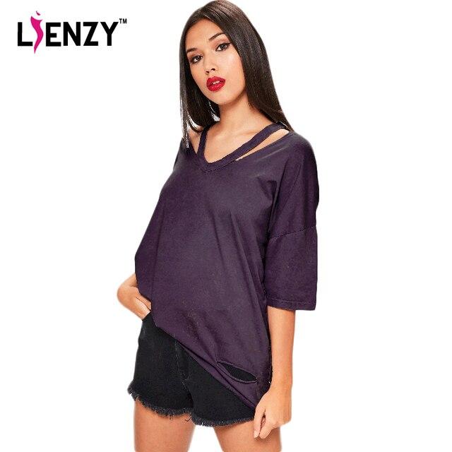 LIENZY Summer Women T Shirt Short Sleeve Hollow Out V Neck Half Sleeve Torn  Vintage Punk b8394c6512