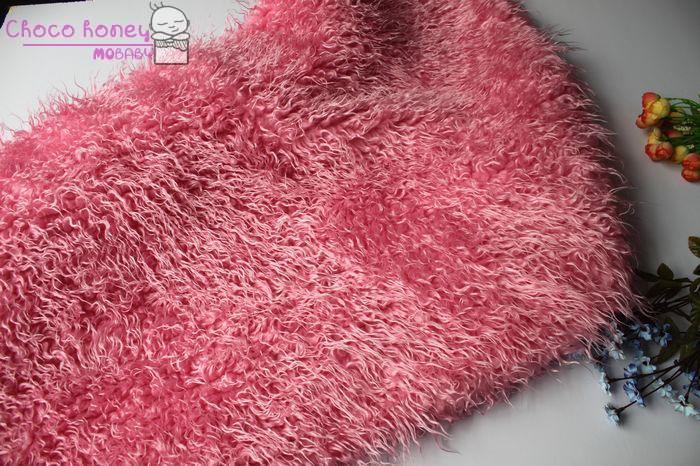Peony Pink Curly Sheep Basket Stuffer Faux Flokati Fur Newborn Photography Prop