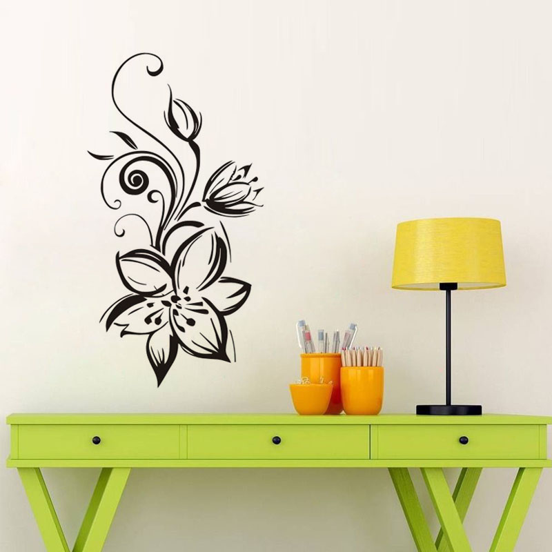 Ehome beautiful flowers wall stickers home decor living - Beautiful wall stickers for living room ...