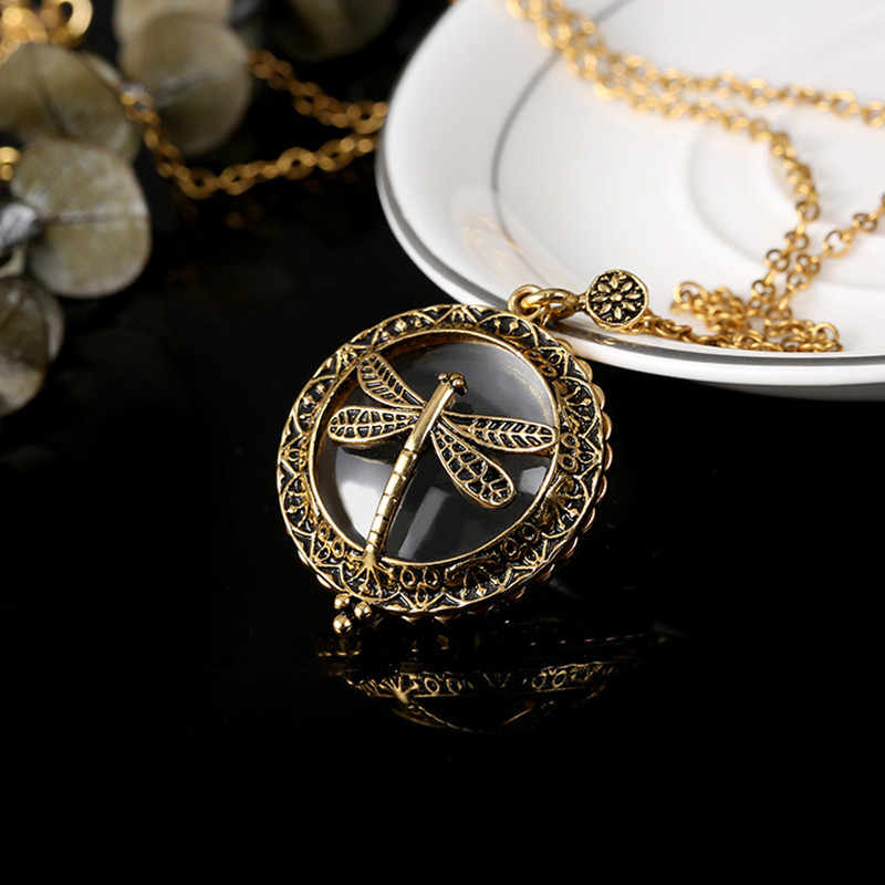 Fashion Jewelry Hollow Dragonfly Magnifier Pendant Necklace For Women Men Good Gift