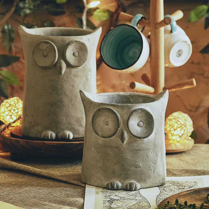 Embossed owl plant potted silica gel mould creative DIY household decoration lovely owl