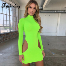 Fitshinling Cut Out Sexy Dresses For Women Neon Green Fluorescence Autumn Dress Female Long Sleeve Bodycon Turtleneck Vestidos