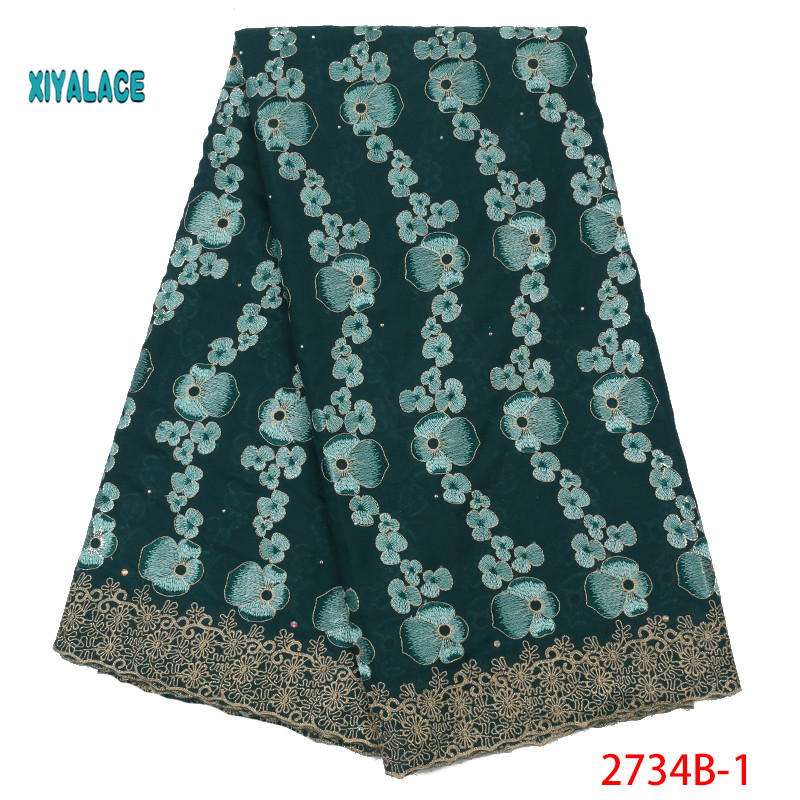 2019 Nigerian African Lace Fabrics Swiss Voile Lace High Quality French Stones Voile Lace Switzerland For Wedding YA2734B-1