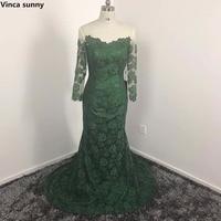 Vinca Sunny 2017 Dark Green Mermaid Lace Bridesmaid Dresses Custom Made Vestidod E Festa Long Sleeves