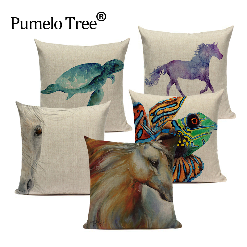 Gift Cushion Cover Tropical Style Cotton Linen Watercolor Horse Fundas 45Cmx45Cm Square Lounger Printed Cushion Cover
