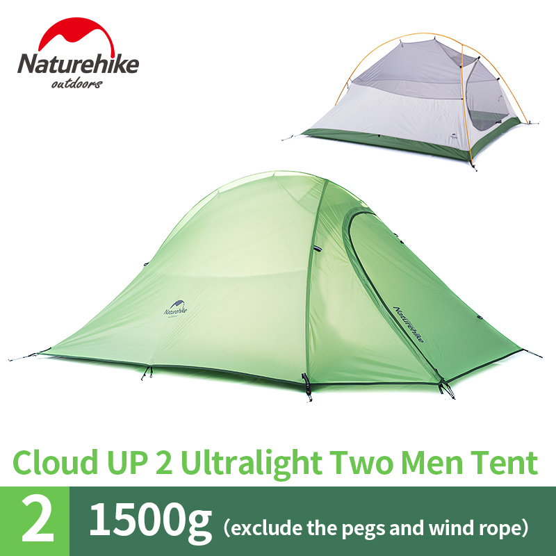 NatureHike factory sell 2 Person Tent with mat set camping tent & lamp & Pillow & groundsheet set high quality outdoor 2 person camping tent double layer aluminum rod ultralight tent with snow skirt oneroad windsnow 2 plus