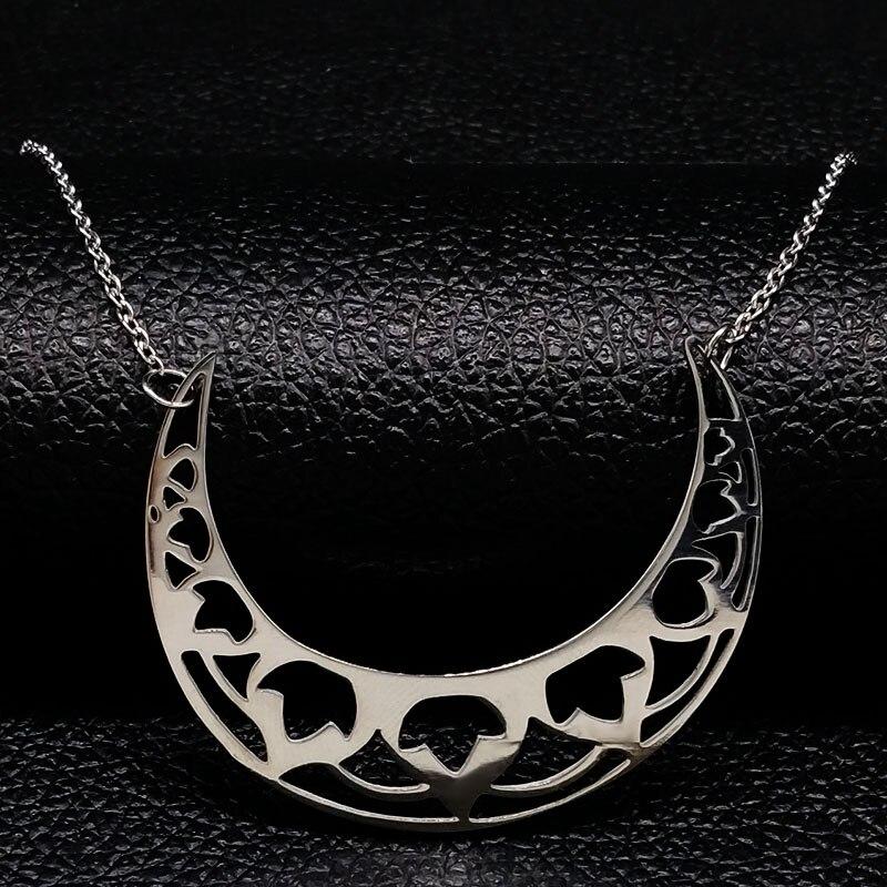 2020 flor luna Acero inoxidable gargantilla Collar para mujer Color plata collares y colgantes joyer a