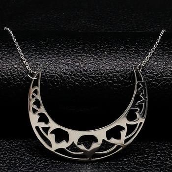 2020 flor luna Acero inoxidable gargantilla Collar para mujer Color plata collares y colgantes joyer