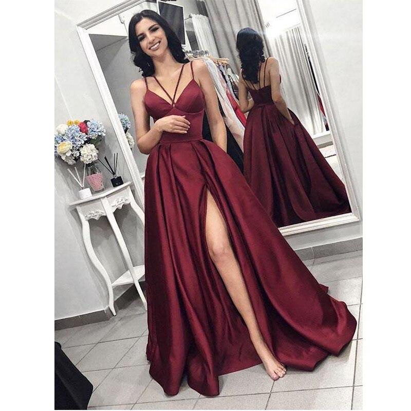 Robes de soirée bordeaux 2019 robe de bal élégante avec fente femmes satin robe de soirée formelle robe de soirée robe de festa