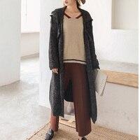 SuperAen 2018 New Spring Long Sleeved Women Long Sweater Coat Turn Down Collar Fashion Sweater Pluz