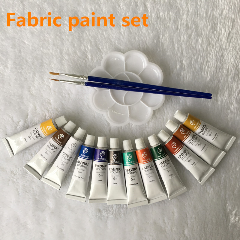 Professional Fabric Colours Paint Non Toxic12 Colors 6ml Color Set Textile Colors Pigments Free For Brush And Paint Tray