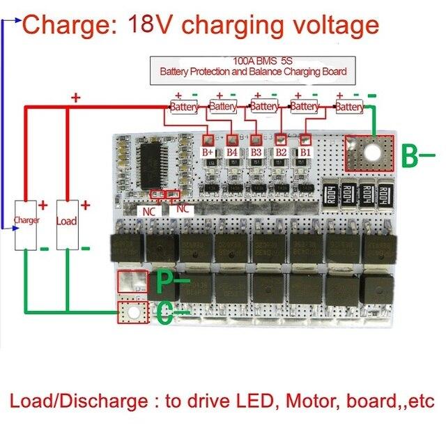 18 V 100A BMS 5 S 3.6 V 3.2 V nominale spanning Li-Ion LiFePO4 Lithium Balans Opladen Board Charger Batterij bescherming Circuit Board