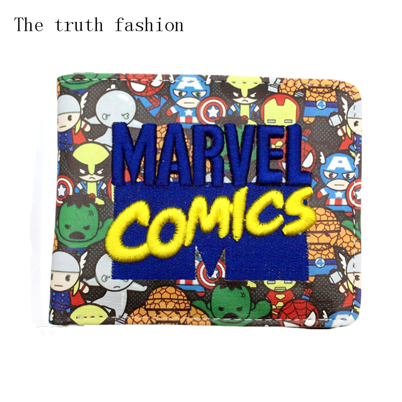 Cool Marvel Comics Wallet Appliques Embroidered Patch Slim Leather Cartoon Wallet For Women Men Avengers Bat Man Superman Wallet
