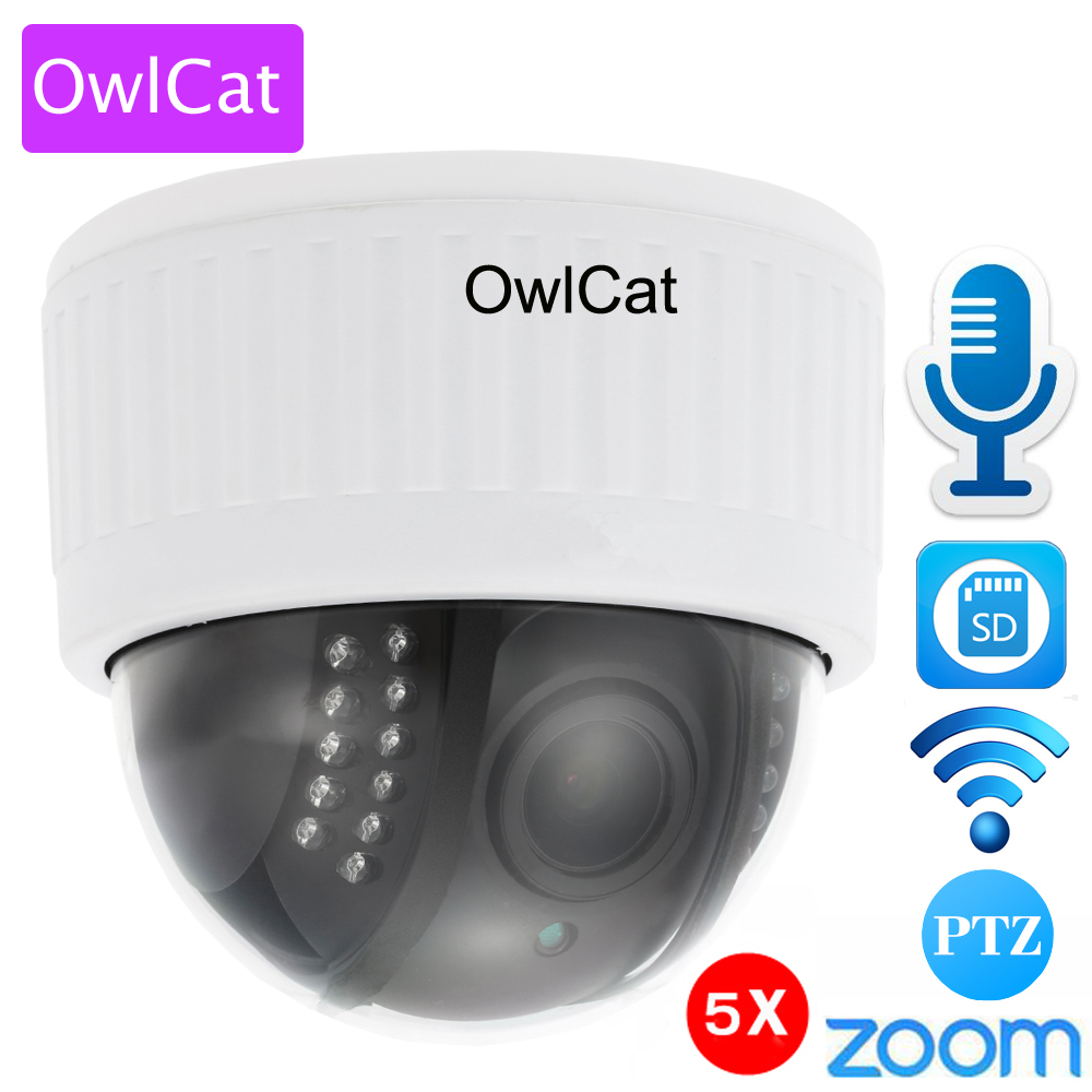Gato-buho blanco 1080 p Full HD interior WiFi IP cámara domo PTZ 5x Zoom inalámbrico Video vigilancia CCTV Audio MIC SD IR noche Onvif