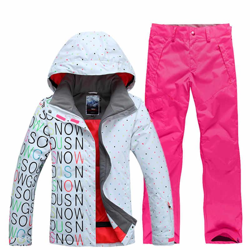 ... GSOU SNOW Brand Ski Suit Women Ski Jacket Pants Waterproof Snowboard  Sets Mountain Skiing Suit Winter ... 09f390469733