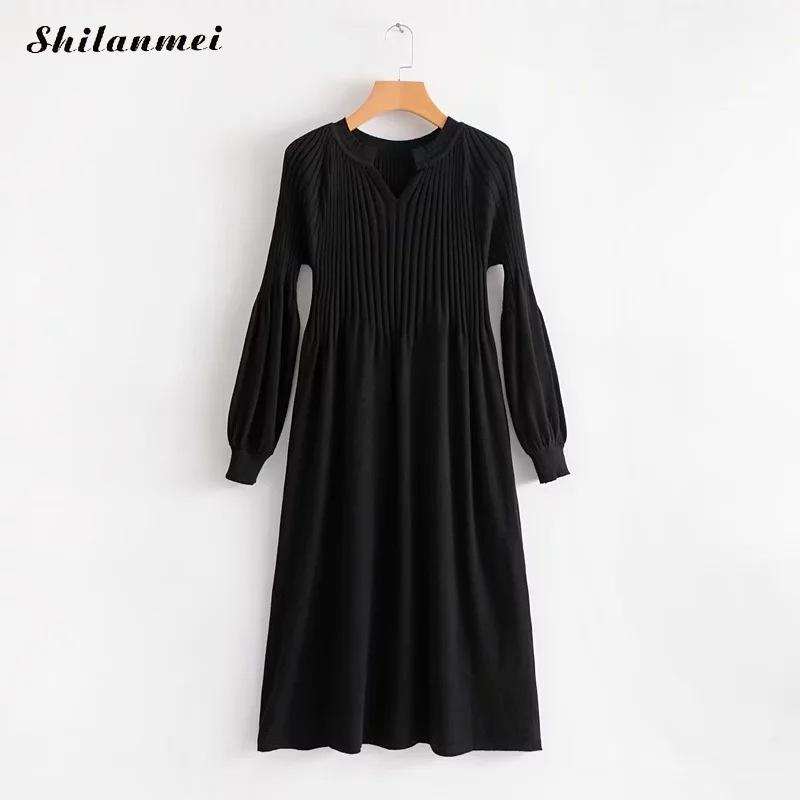 Autumn Winter Dress Womens Long Knitted Sweater Dress Women Elegant Casual Robe Pullover Female V Neck Evening Party Vestidos