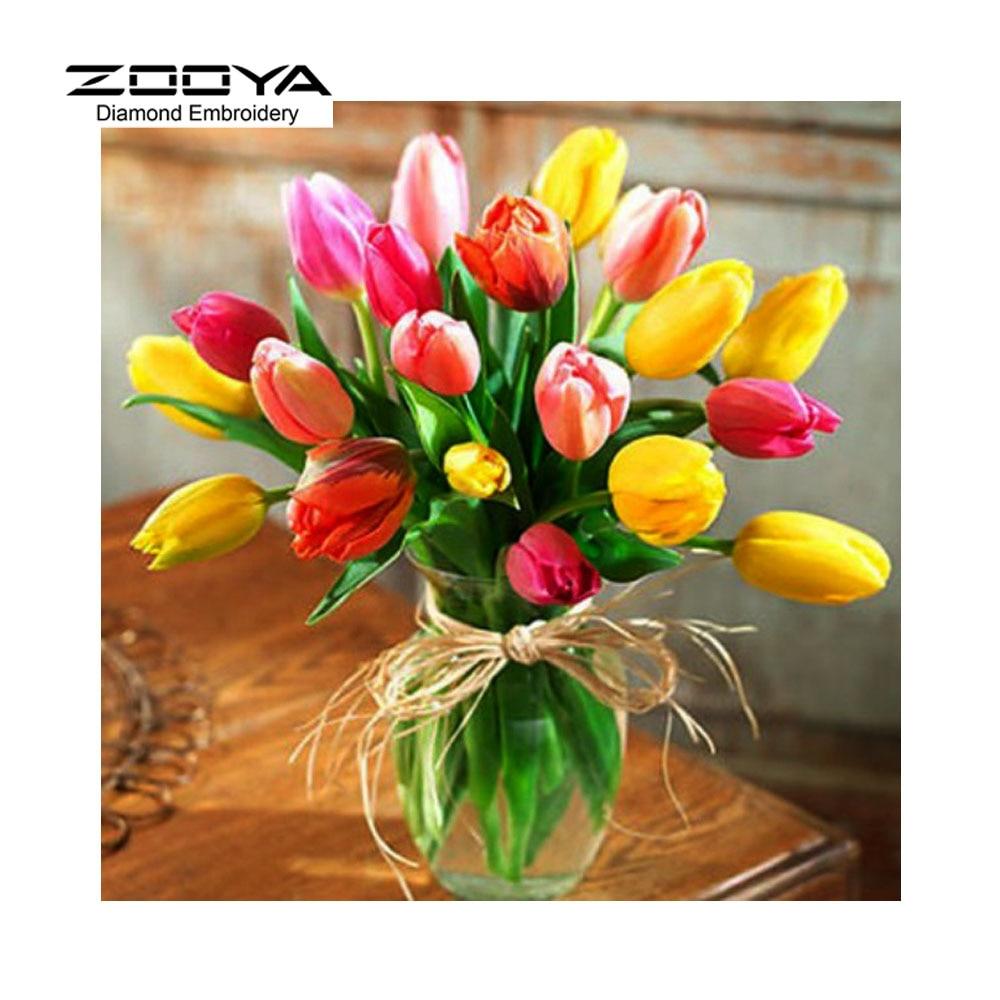 Diy 5d Diamond Embroidery Cross Stitch Beautiful Tulips Flowers