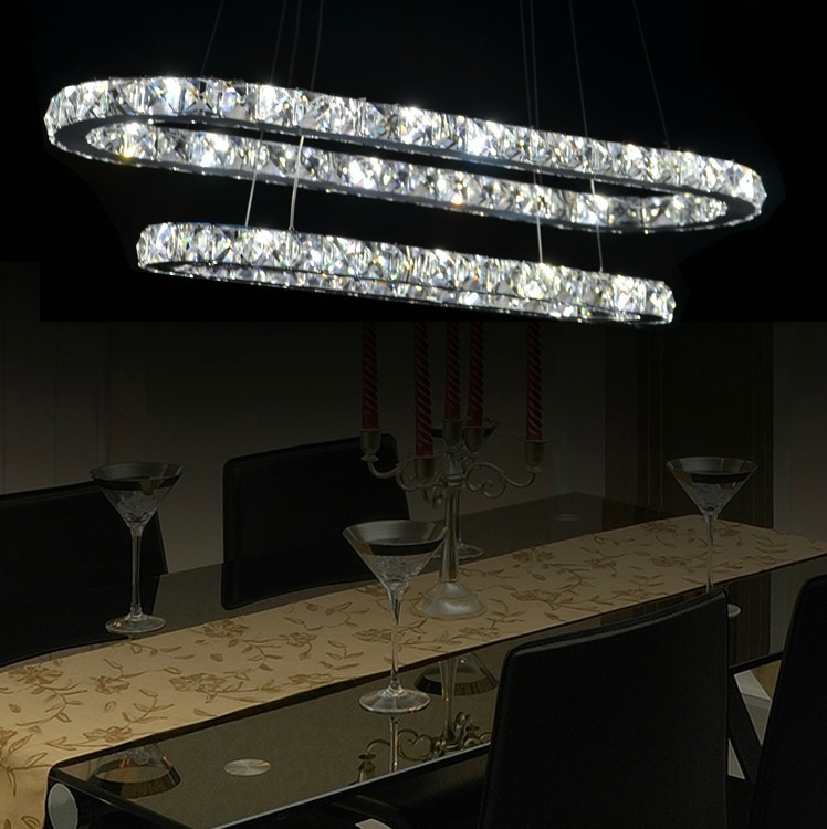 Modern Fashion Dining Room Living Crystal Chandelier Led Pendant Lamp Track Shape Lighting Free Shipping In Lights From