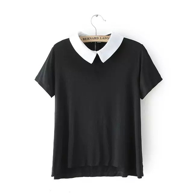 New Fashion 2015 Summer Womens Elegant Peter Pan Collar Short Sleeve Black Shirts Casual Ladies Brand T-Shirt Tops Br071