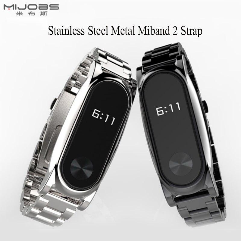 Mjobs pour xiaomi mi bande 2 sangle Plus En Acier Inoxydable En Métal Sans Vis dragonne pour Miband 2 smart bracelet Bracelet