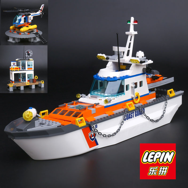 IN STOCK LEPIN 02081 855Pcs City Series Police Coast Guard Headquarters Base Building Block Compatible 60167 Brick Toy boy gift lepin 02036 298pcs city truck building block compatible 3221 brick toy