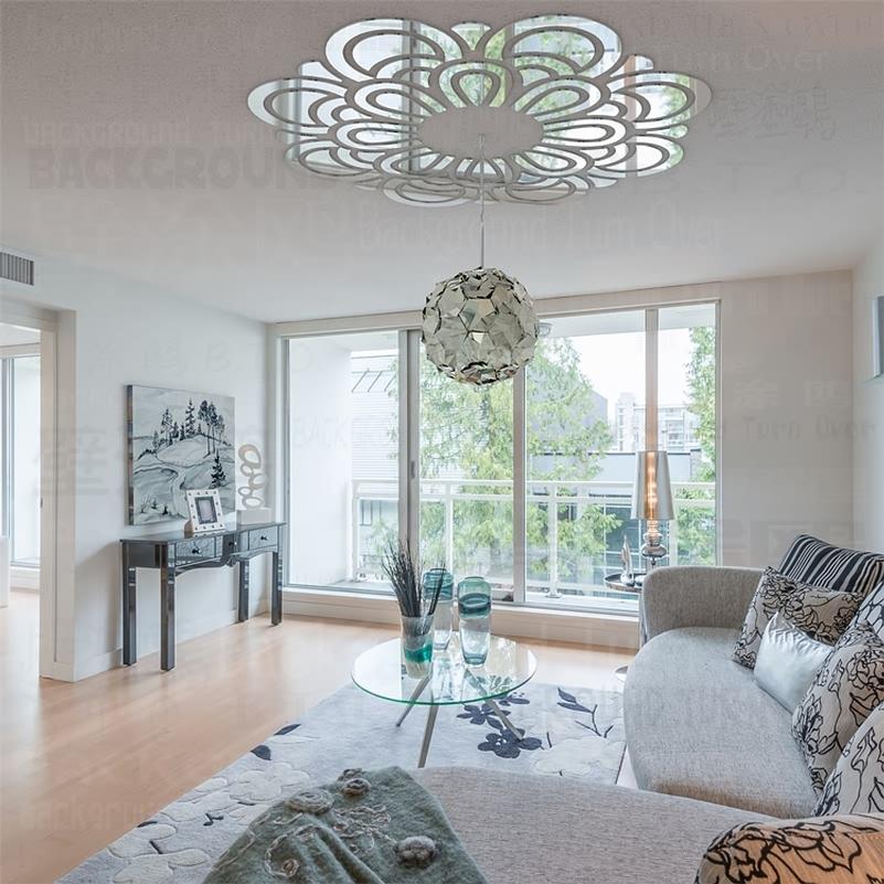 elegante patrn de flor d acrlico flor reflexivo pegatinas espejo del dormitorio sala de estar decoracin