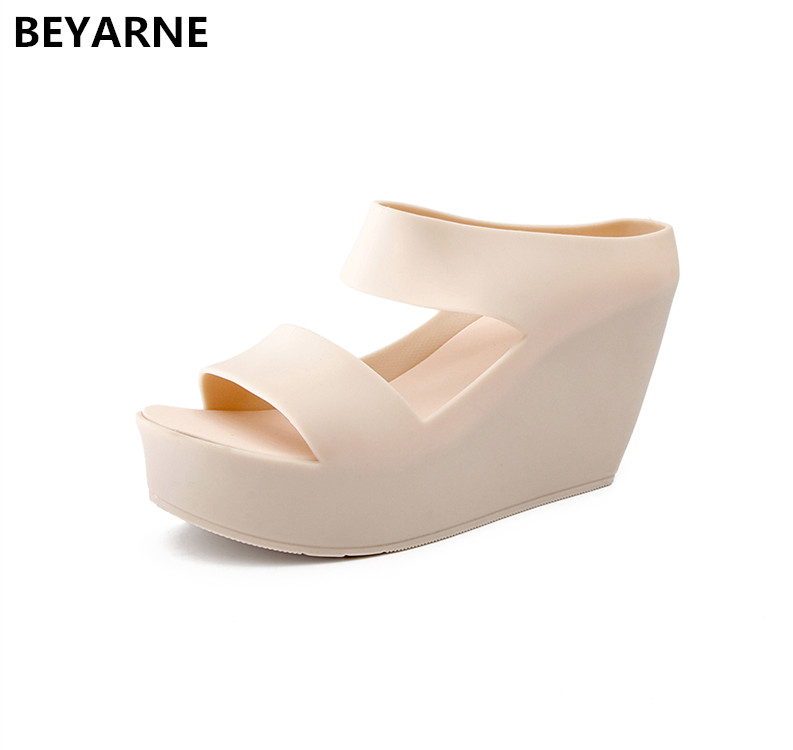 2fb29518e0 BEYARNE fashion new woman jelly shoes lady high wedges heels sandals ...