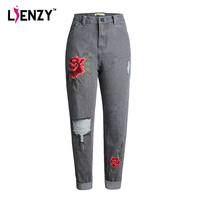 LIENZY Summer High Waist BF Jeans With Floral Embroidery Ripped Denim Capris Ladies Vintage Pants Bottoms